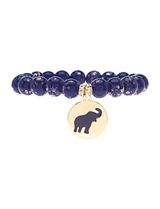 Beaded stretch bracelet with charm