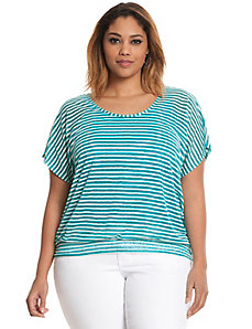 Keyhole back striped burnout tee