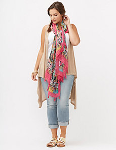 Long open knit vest