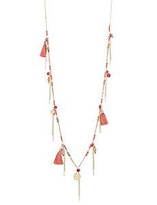 Fringe & bead necklace