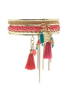 Beaded bangle charm bracelet set