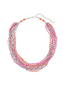 Short multi row bead necklace
