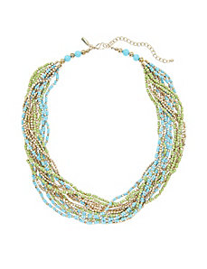 Short multi row bead necklace
