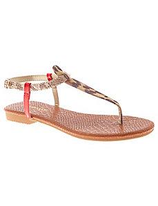 Animal T-strap sandal