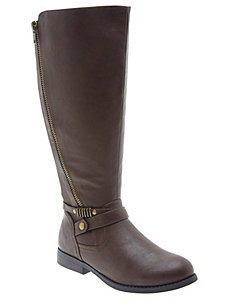 Zipper detail riding boot