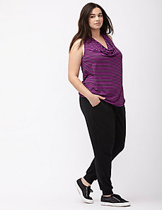 Striped drape neck tank