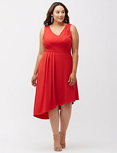Asymmetric seamed bodice dress