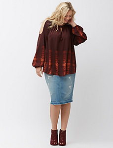 Printed cold shoulder top
