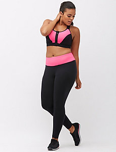 Strappy back zip front sport bra