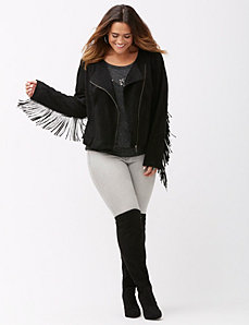 Fringed faux suede jacket
