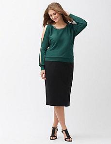 Embellished cold shoulder sweater