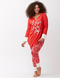 Holiday print legging PJ set