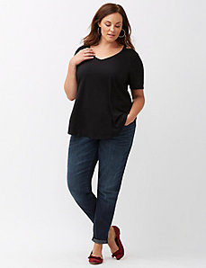 High-low tee with cut-out shoulder