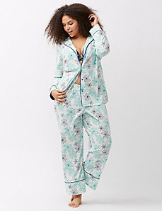 Notched lapel 2-piece PJ set