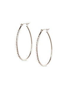 CZ oval hoop earrings