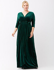 Velvet wrap dress by Kiyonna