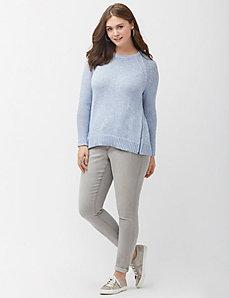 Metallic sweater with zippers