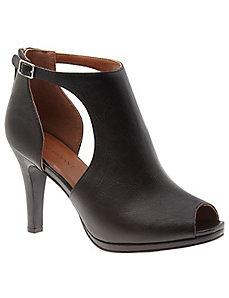 Peep toe faux leather heel