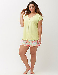 V-Neck Sleep Top with Lace Trim