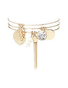 3 row bangle charm bracelet