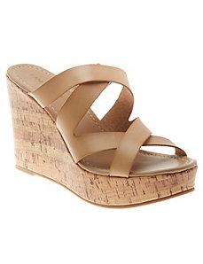 Cork wedge slide sandal