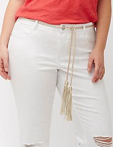 Braided tie belt with fringe
