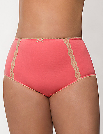 Sassy cotton high leg panty with lace